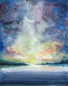ORIGINAL PAINTING  As the Sun Sets  A Watercolor by RuthOosterman