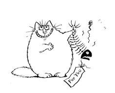 Fat Cat Stinky Fish Free Digi Stamp