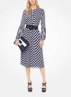 Michael Kors Striped Georgette Shirtdress Striped Shirt Dress 18b90aaff