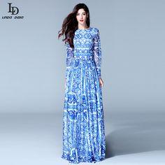 Long Sleeve Vintage Blue And White Print Dress Brand Maxi Dress