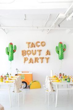 51 of the Best Theme Party Ideas Actual Party Planners Could Think Of 101 Theme Party Ideas - Cinco de Mayo: Have all-you-can-drink margaritas, a make your own taco bar, and end with a tequila tasting. We love these cacti and gold metallic ballon letters! 21 Party, Party Fiesta, Taco Party, Party Time, Party Snacks, Mexican Fiesta Birthday Party, Fiesta Cake, Work Party, Party Fun