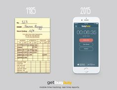 1985 vs. 2015  Get with the times. Take your time cards mobile with busybusy and have employees clock in/out right from their phones. We verify GPS locations so you know exactly where and when team members clock in/out. Then export accurate and calculated data to any payroll software. Too easy.