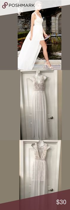 lulus long white nude lace maxi dress sz s small lined in beige to mid