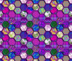 METALLIC MIX HEXIES 3D FUCHSIA PINK fabric by paysmage on Spoonflower - custom fabric