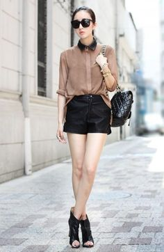Sheinside Camel Chiffon Irregular Shirt    amazing look!