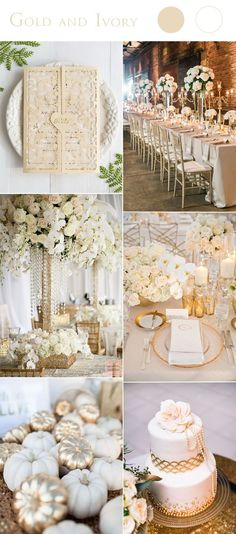 gold and ivory wedding color combo ideas with matched wedding invitation