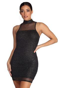 8971159cf7c Glitter Infusion Mini Dress Black Glitter