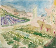 'Vegetable Gardens and Lavender Fields, Outskirts of a village - South of France' By Norman Adams ,1985
