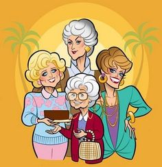 Golden Girls. Once in a far off distant time grown women had whole shows dedicated to their exploits & adventures. These particular ladies retired to Miami & found each other in share a house. Dorothy, Blanche, Rose & Sophia still make me laugh out loud. Timeless. Girl Cartoon, Cartoon Photo, Cartoon Faces, Cartoon Ideas, Funny Faces, Golden Girls Meme, Golden Girls Birthday Meme, The Golden Girls, Funny Caricatures
