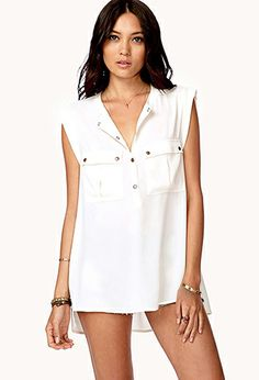 Boxy Buttoned Pockets Top   FOREVER21 - 2031557513