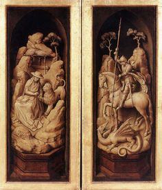 Sforza Triptych (exterior) by Rogier Van Der Weyden Jan Van Eyck, Hieronymus Bosch, Guernica, Art Pop, Rembrandt, Saint George And The Dragon, St Jerome, Oil Painting Reproductions, Triptych