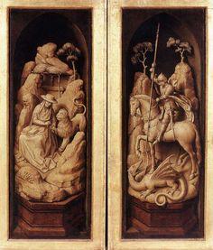 van der Weyden, Sforza Triptych (exterior), c. 1460, Oil on oak panel, 53,7 x 19 cm (each), Musées Royaux des Beaux-Arts, Brussels.