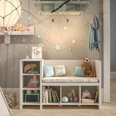 Toddler Boy Room Decor, Toddler Rooms, Boys Room Decor, Girl Toddler Bedroom, Montessori Toddler Bedroom, Storing Kids Books, Toy Storage Bench, Home Decoracion, Girls Bedroom