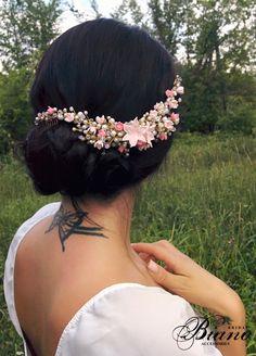 Bridal Bohemian Headpiece,Bridal Pearl Hair Comb, Flower Hair Piece, Wedding Hair Accesories by Bianoco on Etsy