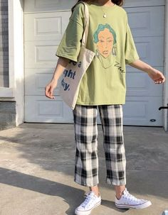 Via:Yesstyle aesthetic clothes Elbow-Sleeve Print T-Shirt/ Plaid Wide Leg Pants Mode Outfits, Korean Outfits, Retro Outfits, Grunge Outfits, Vintage Outfits, Casual Outfits, Girl Outfits, Fashion Outfits, Fashion Hacks