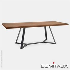 Spacious base: Table by Domitalia Design Archie L 240 Rectangular Dining Table in lacquered steel frame with Walnut veneered top. Made in Italy Designer Alberto Werner Arter Frame Anthracite Top Walnut V Dinning Room Tables, Metal Dining Table, Dining Table Design, Steel Table, Wood Table, Dining Chairs, Rectangle Dining Table, Table Frame, Steel Furniture
