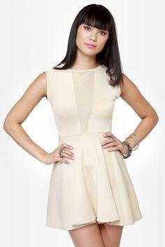 Sexy Cutout Dress - Beige Dress - Mesh Dress - $35.00