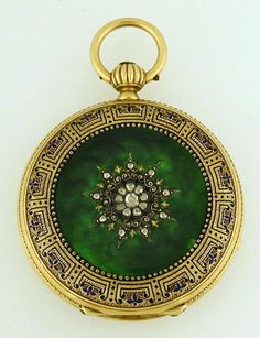 18K Gold Breitling Watch w Diamond Enamel Vintage