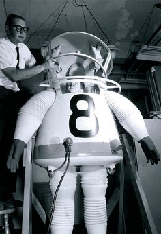 In 1958, still a decade before the moon landing, Engineering made UCLA the first university with an astronautics program. This prototype of a space suit was designed in 1961.  I had a Major Matt Mason toy of this suit