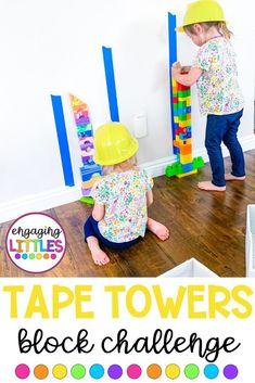 Give your littles a challenge with tape towers! Add painter's tase to the wall … Give your littles a challenge with tape towers! Add painter's tase to the wall …,Hands-On Activities Give your littles. Preschool Learning Activities, Preschool Classroom, Infant Activities, Educational Activities, Preschool Crafts, Fun Activities, Kids Learning, Number Activities, Activities For 3 Year Olds