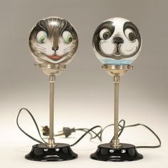 French art deco lamps with the painted cat and dog globes.