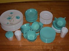 80pc Vintage PMC Texas Ware Melmac Plastic Dish Set Service for 14 People | eBay turquoise