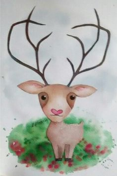 #oh #deer  #illustration #cute #hirsch #aquarelle