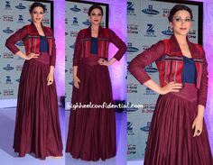 At the press meet of India's Best Dramebaaz, Sonali was seen in a Shruti Sancheti crop jacket and skirt, both paired with a navy tank. She looked nice but, I for one, really disliked that V waistband on the skirt. Just me? Sonali Bendre at India's Best Dramebaaz Press Meet Photo Credit: Viral Bhayani More …