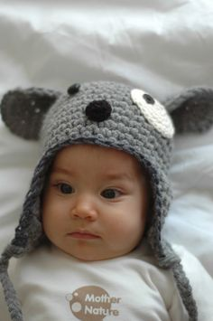 Woof Dog Hat  for 6 to 12 Months  and 12 to 24 Months. $25,00, via Etsy.