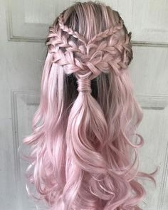 cool hairstyles - Lace Frontal Wigs Pink Blonde Hair With Pink Roots For Women Permed Hairstyles, Pretty Hairstyles, Braided Hairstyles, Hairstyle Ideas, Wedding Hairstyles, Bohemian Hairstyles, Hairstyles 2018, Pink Blonde Hair, Dyed Hair