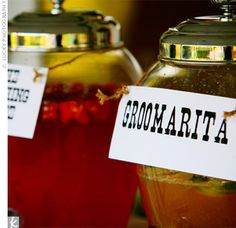"""""""groomaritas"""" and """"the blushing bride"""" signature drinks."""