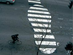 "A 2003 crosswalk painting by Peter Gibson, aka ""Roadsworth,"" in 2003. Photo: courtesy Peter Gibson."