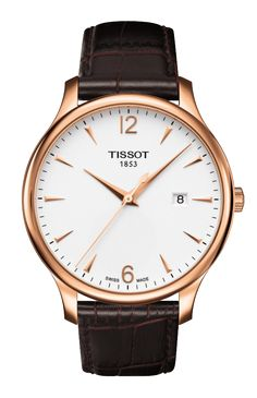 Tissot Watch, Men's Swiss Automatic Tradition Brown Leather Strap - Men's Watches - Jewelry & Watches - Macy's - mens and womens watches, mens automatic watches, cheap mens fashion watches Gents Watches, Casual Watches, Watches For Men, Wrist Watches, Brown Leather Strap Watch, Mens Watches Leather, Bracelet Cuir, Style Vintage, Silver Man