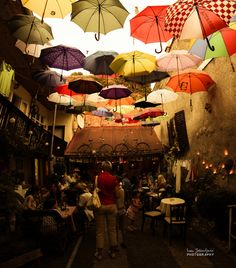 Unusual caffe bar by ~IJPhotography - Croatia. Špancirfest Festival in Varaždin. Little caffee place with colorful roof and random old and traditional stuff around with pleasent ambient. Outdoor Restaurant, Cafe Restaurant, Restaurant Design, Caffe Bar, Parasols, Umbrellas, Roof Colors, Coffee Places, Bar Interior