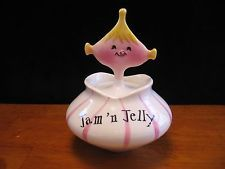"""1958 Holt Howard Pixieware Ceramic """"Jam n' Jelly"""" Condiment Jar with Spoon"""