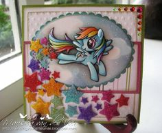 I made this card for my oldest daughters birthday. I didn't use a stamp this time but decided to go for a coloring page instead. My daughter loves the My Little Ponies and this particular pony is called Rainbowdash. I colored her with my Copic Markers in her original colors and 3D paper pieced her for extra dimension. More pictures and details can be found on my blog: http://sendingyoualittlesmile.blogspot.nl/2012/10/my-little-pony-birthdaycard-for-dyanne.html