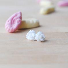 New to Onetenzeroseven on Etsy: White Rose Earrings | Nickel Free Studs | Snow White (4.50 GBP)