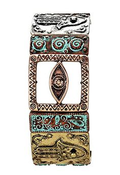 Rosemarie Collections Women's Stretch Bangle Bracelet Multi Tone Tribal Etched Evil Eye Hamsa >>> You can find more details at…