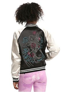 Be soFISHticated // Black Champagne Embroidered Koi-girls Satin Bomber Jacket