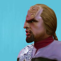 So I have not digitally painted in awhile so I decided to paint Worf. #worf #startrek #thenextgeneration #ds9 #deepspace9