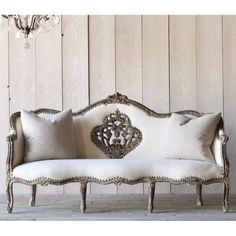 Vintage Grey Daybed with Ornate Design $4,390.25 #thebellacottage #shabbychic #eloquence