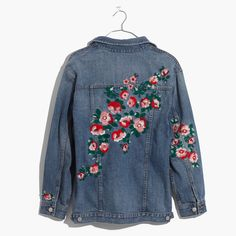 Michellecmm Women Oversized Denim Jacket Long Sleeve Distressed Ripped Coat Jean Jacket