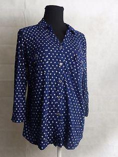 LIZ CLAIBORNE Women's 3/4 Sleeve V-Neck Button Front Shirt Navy White Sz XL
