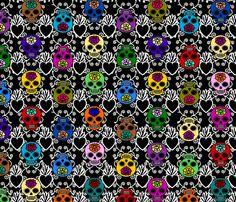 Simple DOTD skulls with sacred heart fabric by thirdhalfstudios on Spoonflower - custom fabric