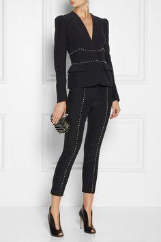 Alexander McQueen|Embellished crepe skinny pants|NET-A-PORTER.COM