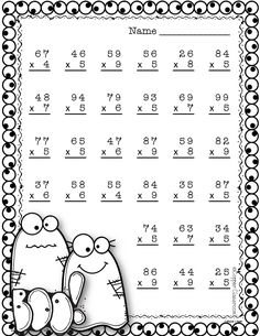 Halloween Double Digit Multiplication With Regrouping, Two Digit Multiplication 4th Grade Multiplication Worksheets, Math Worksheets, Math Resources, Math Activities, Multiplication Problems, Math Stations, Math Centers, Math Drills, Math Sheets