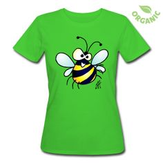 Vrolijke bij op een organisch dames T-Shirt #Spreadshirt #Cardvibes #Tekenaartje #bijtje