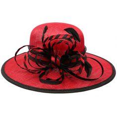 Chapeau Mariage Rouge et Noir Element en paille sisal #chapeaumariage #mariage #mode #bonplan #look sur Hatshowroom.com