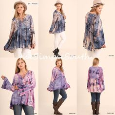 287f8ae6f94 NWT UMGEE Bell Sleeve Lace-Up Tie-Dye Swing Trapeze Tunic Top BabyDoll Plus  Size