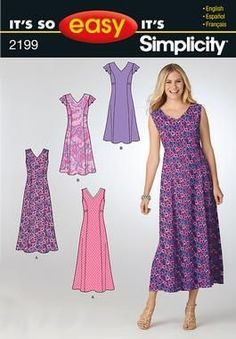 Purchase Simplicity 2199 misses dress and read its pattern r Summer Dress Patterns, Dress Making Patterns, Patron Simplicity, Simplicity Sewing Patterns, Sewing Patterns Free, Clothing Patterns, Miss Dress, The Dress, Women's Dresses